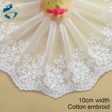 10cm ancho blanco bordado de listón para coser tela de encaje guipur de ajuste de punto de urdimbre de accesorios de prendas de vestir de encaje Africana #1793