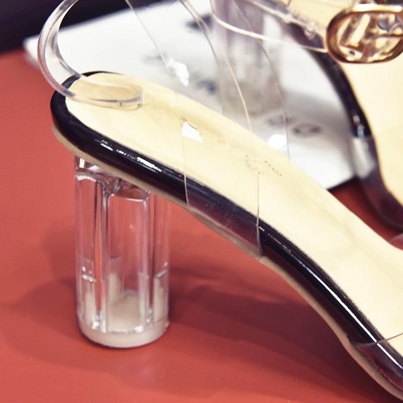 HTB1A2EQpgKTBuNkSne1q6yJoXXa4 MeiLiKeLin Clear heels Transparen Crystal Sandals Women Shoes Round Heel Womans Waterproof Beach Sandales lady high heels Summer