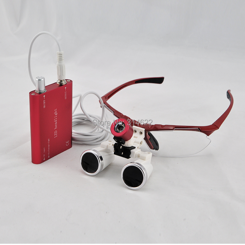 2017 New Red Dentist Dental Surgical Medical Binocular Loupes 3.5X 320mm Optical Glass Loupe+LED Head Light Lamp spark 2 5x magnification dentist surgical medical binocular dental loupes with comfortable headband and mounted led head light