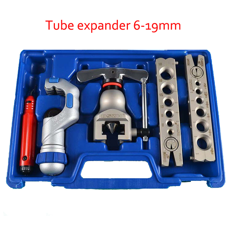 1 SET Tube Expander With Cutter And Chamfering Copper Tube/ Pipe Expanding Tools Set Trumpet Tool 5-19mm WK-806FT over vtb 5b r410a new refrigerant combination tool r410 double table expander tube expander cutter