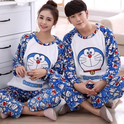 Free shipping Autumn $ winter lovers thickening flannel Pajamas plus size sleepwear men cartoon coral fleece lounge set 24 color