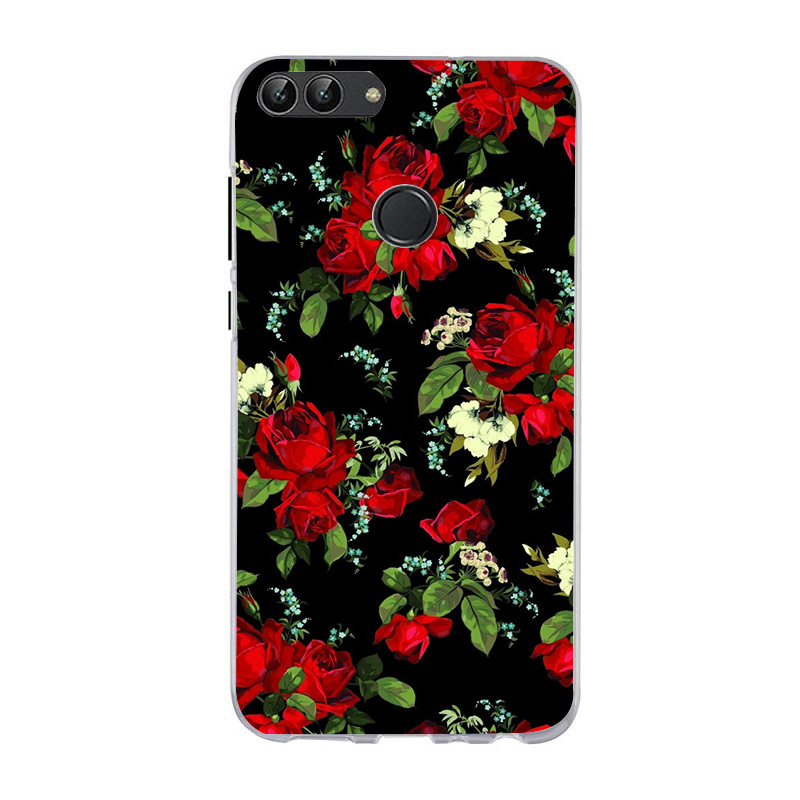 Luxury Marble Flower Case For Huawei P Smart Fashion Mickey Minnie Back Cover Protective Phone Coque For Huawei P smart in Fitted Cases from Cellphones Telecommunications