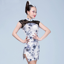 Fashion chinese style turtleneck lace Latin dance one-piece dress for female/women/girl,Tango Ballroom costume performance wears