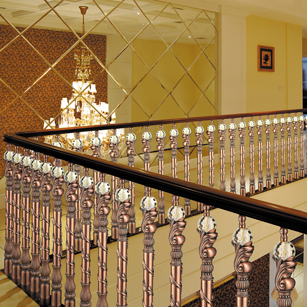 European Design Classical Aluminum Stair Railing, Antique Red Plating Fence