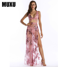 MUXU sexy summer suspender dress black sequin patchwork womens clothing backless long vestidos mujer embroidery 2018