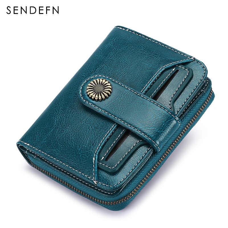 Cartera de tendencia SENDEFN, cartera para mujer, cartera corta, monedero de calidad, monedero de botón para mujer, herrajes de flores de calidad 5185H-75