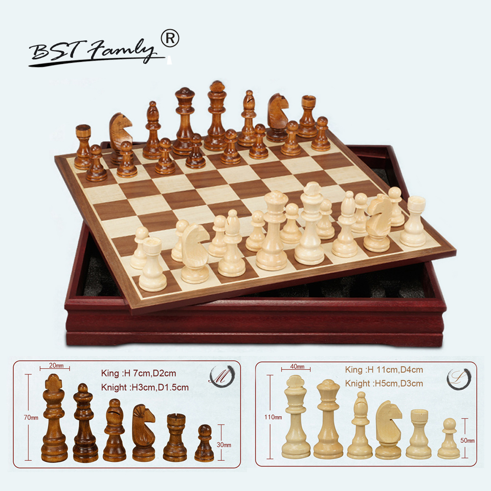 BSTFAMLY Chessman Wooden Chess Set International Chess Game Box Chessboard Wood Chess Pieces King Height 70/110mm Toy Gift I40 bstfamly carving wooden chess set game portable game of international chess folding chessboard wood chess pieces chessman i13