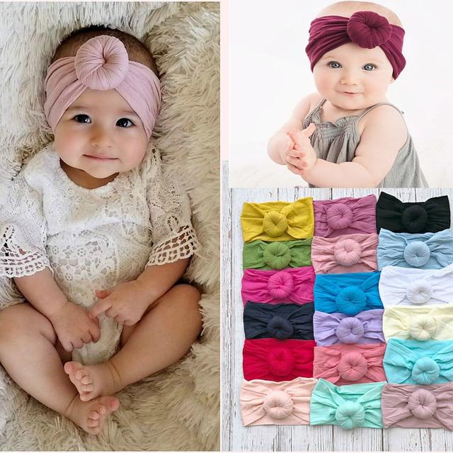 1PCS 20 Colors Bebe Round Knot headbands Elastic Wide Donut hairwraps  Fabric cotton Girls Nylon Turban bows Hair Accessories c53f22e3abb