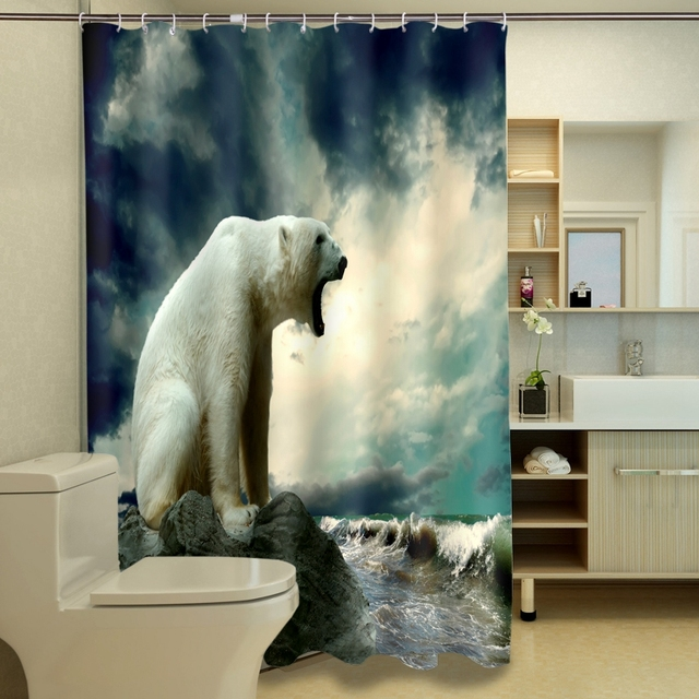 Aliexpress.com : Buy Top 3D Shower Curtains Roaring White Wolf ...