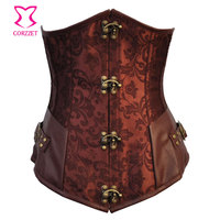 Brown Gothic Steel Boned Waist Trainer Corset Underbust Sexy Steampunk Clothing Women Plus Size Corsets Corsetto E Bustiers