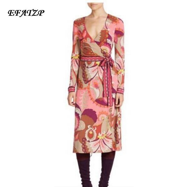 New Arrival 2016 autumn winter Elastic Dress Ladies Colorful Geometry Print Long sleeve Stretch Jersey Silk