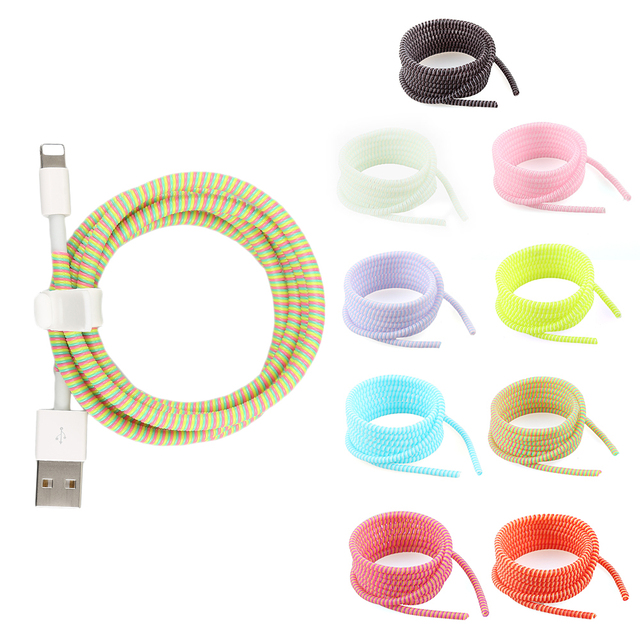 1.4M USB Charging Data Line Cable Protector Wire Cord Protection Wrap Cable Winder Organizer For iPhone For Xiaomi 8 Colors