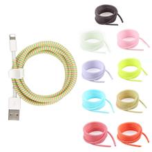 1 4M kabel USB do ładowania danych kabel Protector przewód ochronny Wrap Cable Winder Organizer dla iPhone dla Xiaomi 8 kolorów tanie tanio Z tworzywa sztucznego NONE data line protection rope