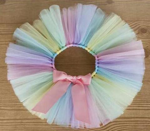 Colorful Baby Girls Tutu Skirts Infant Handmade Ballet Tutus Pettiskirt with Pink Ribbon Bow Newborn Birthday Party Skirts 1Pcs
