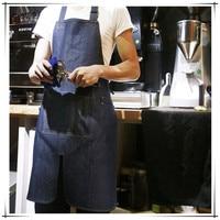 2016 Fashion Functional Cotton Denim Apron with Pocket Strap for Men Women Barista Barber Baker In Restaurant Coffee Bar Hotsale