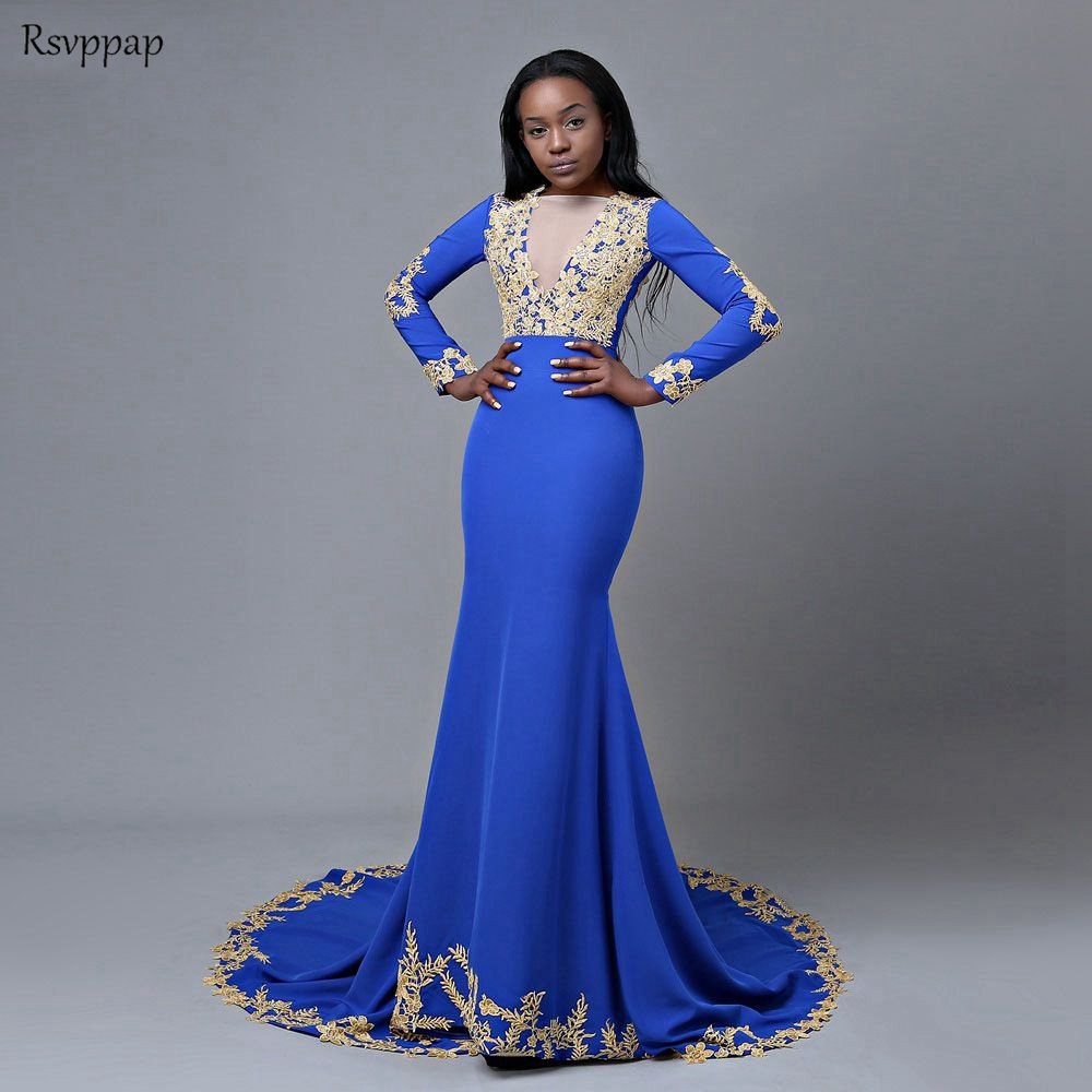 Long   Prom     Dresses   2019 Mermaid Long Sleeve Backless Gold Lace African Royal Blue Backless Black Girl   Prom     Dress