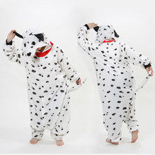 Dalmata Costume Cosplay Cane Chiazzato Puntatori Inverno Polar Fleece Tutina Pigiama Con Cappuccio, Pigiami Degli Indumenti Da Notte Adulti Party Dress(China)