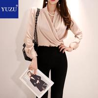 Two Piece Set Office Women Fall Top And Pants V neck Long Sleeve Draped Beading Champagne Shirt And Black Split Pants With Belt
