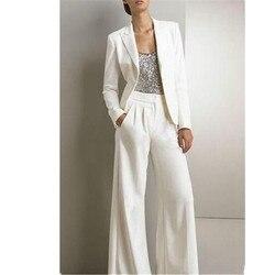 Frauen Formal Business Büro 2 Stück Anzüge Weiß Mode Nach Maß Frauen Damen Party Prom Anzüge Jacke Hosen Tailleur Femme