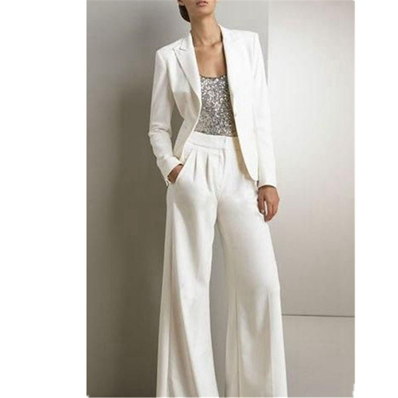 Mujer Formal oficina de negocios 2 piezas trajes blanco moda hecho a medida mujeres señoras fiesta trajes chaqueta pantalones Tailleur Femme-in Trajes de pantalón from Ropa de mujer    1