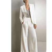 Women Formal Business Office 2 Pieces Suits White Fashion Custom Made Women Ladies Party Prom Suits Jacket Pants Tailleur Femme