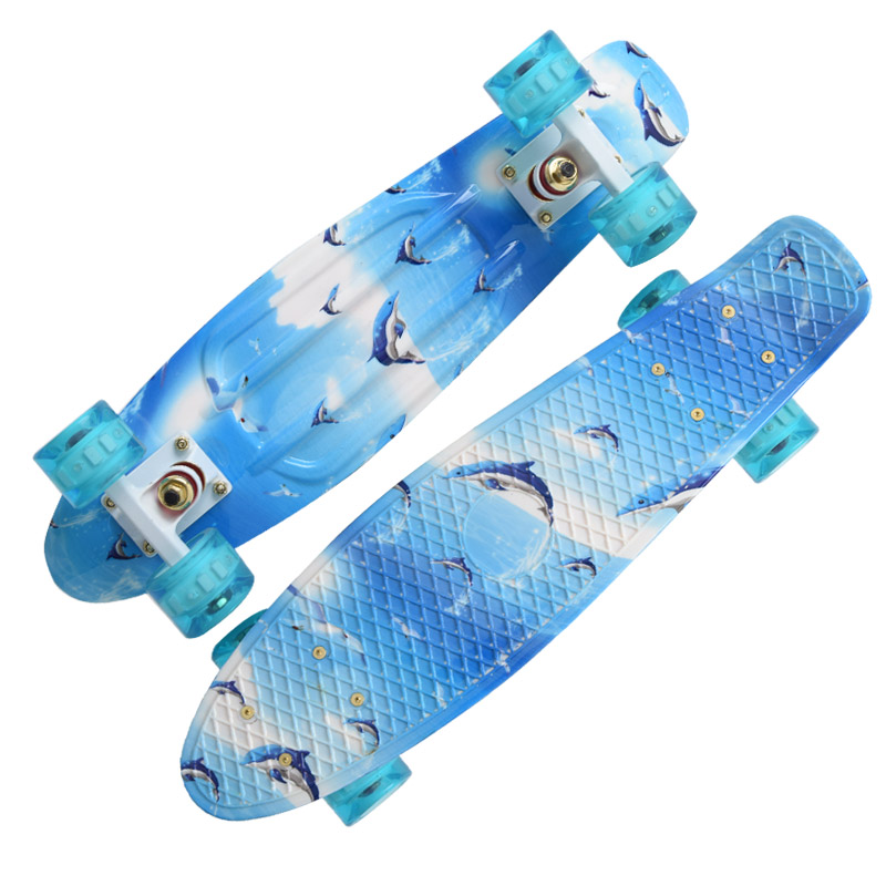 Pastel plastic mini cruiser skateboard 22 patins street skateboard four wheel longboard banana fish skate board long Skateboard