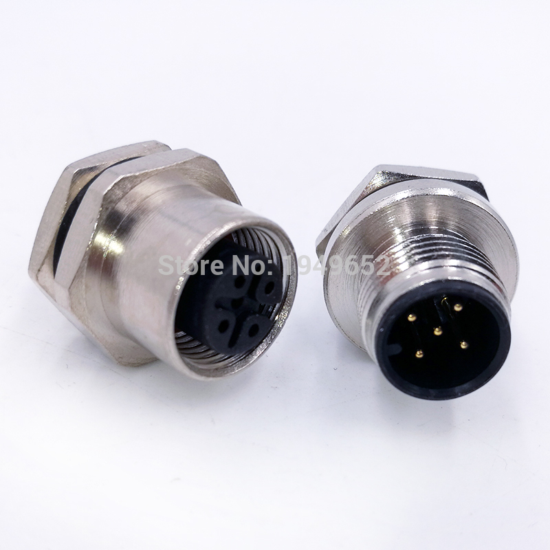 M12 Sensor Connector Panel Back Mount Waterproof Flange Socket  Threaded Coupling Male&Female 4 5 8Pin A Type