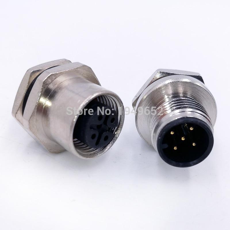 M12 Sensor Connector Panel Back Mount Waterproof Flange Socket  Threaded Coupling Male&Female 4 5 8Pin A Type