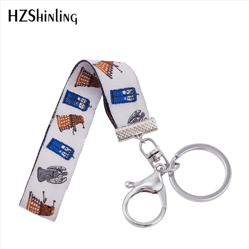 New Fashion Cute Style Embriodery Keyholder Time Machine Role Wristlet Key Fob Bag Accessories Doctor Who Man Keyring Gifts