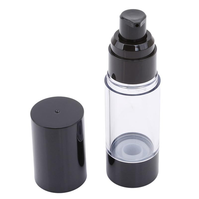High Quality Plastic Portable Airless Bottle Cosmetic Treatment Pump Travel Empty Container Perfume Bottle Black Cap