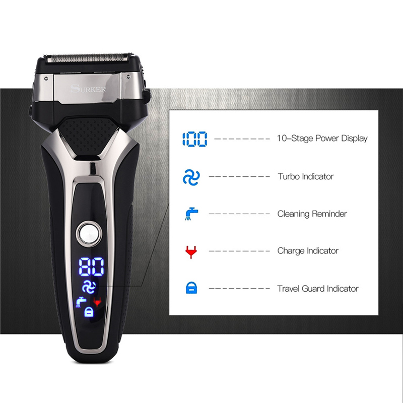 SURKER Shaver 3D Razor-Machine Blade-Head Beard Trimmer Led-Display Triple-Floating-Blade