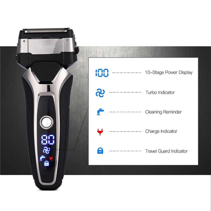 SURKER RSCX-9008 afeitadora 3D Triple hoja flotante afeitado pantalla LED hombres barba maquinilla de afeitar hombres cara barba recortadora + hoja la cabeza