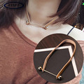 BYSPT Gothic Punk Styel Alloy Pendant PU Choker Collar Chocker Black Brown Genuine Leather Necklace Wrap With Pendant For Women
