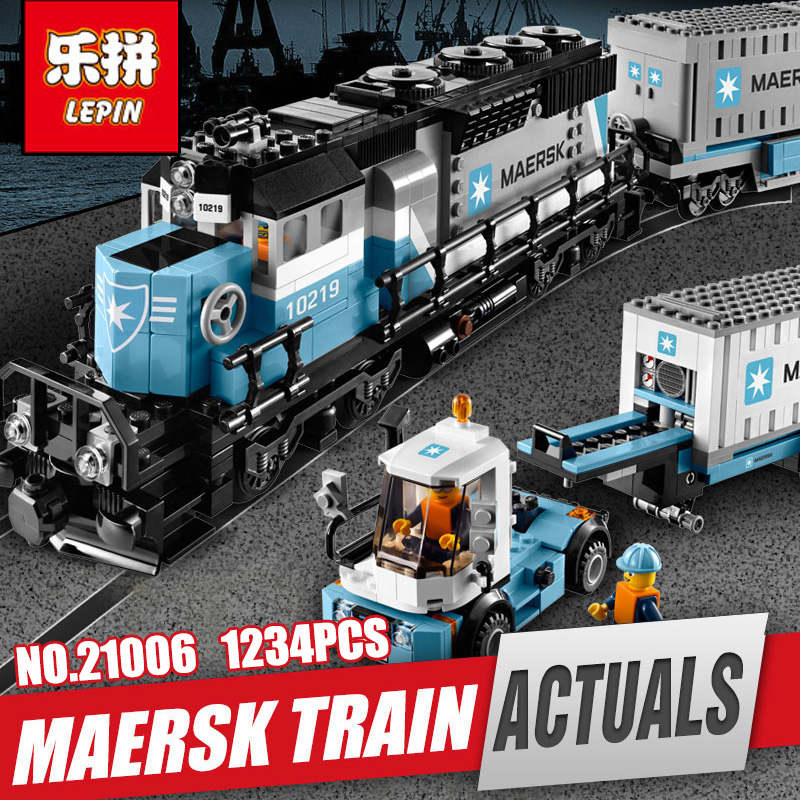 Lepin 21006 Genuine Technic Ultimate Series The Maersk Train Set Educational Building Blocks Bricks Toys legoing 10219 as gift lepin 22002 1518pcs the maersk cargo container ship set educational building blocks bricks model toys compatible legoed 10241