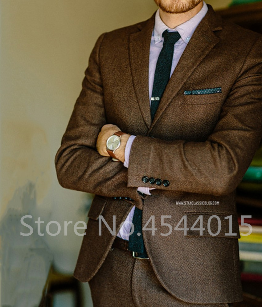 Brown HerringBone Tweed Suit Men Classic Men Suit Groom Wedding Suits For Men Formal Ternos Tweed Jacket Men 2 Piece Jacket+Pant