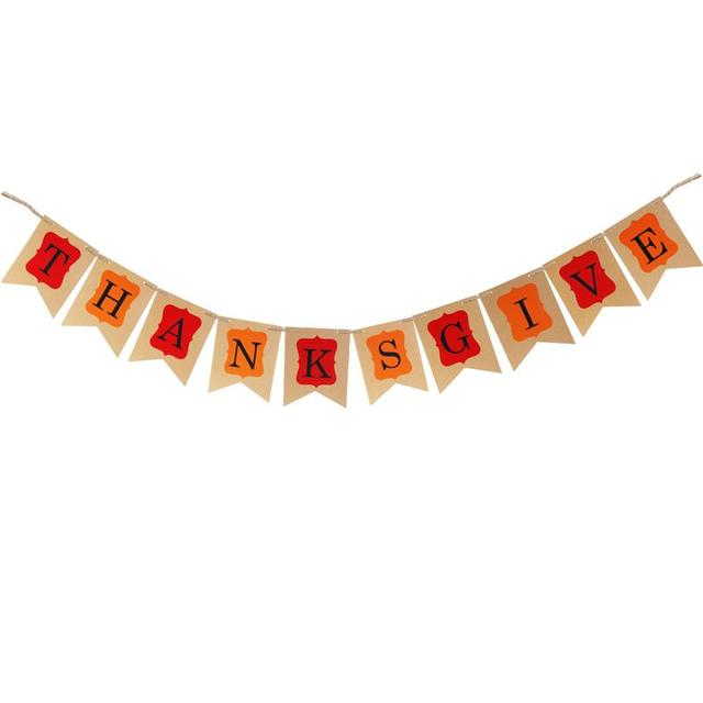 Thanksgive Bunting Banner Thanksgiving Day Party Decoration Garland Props With Hemp Rope