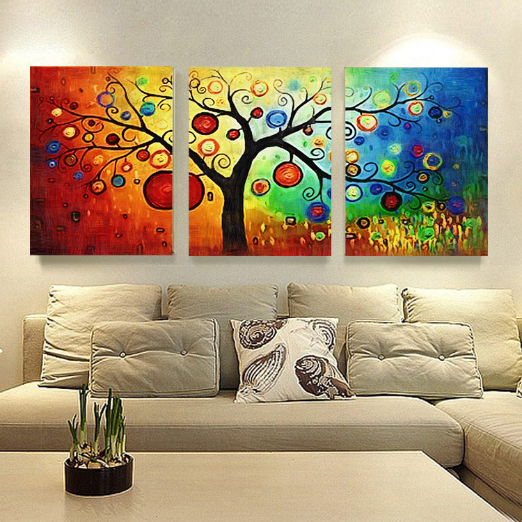 Dining Room Paintings: Lucky Tree Modern Abstract Oil Painting Unframed Wall