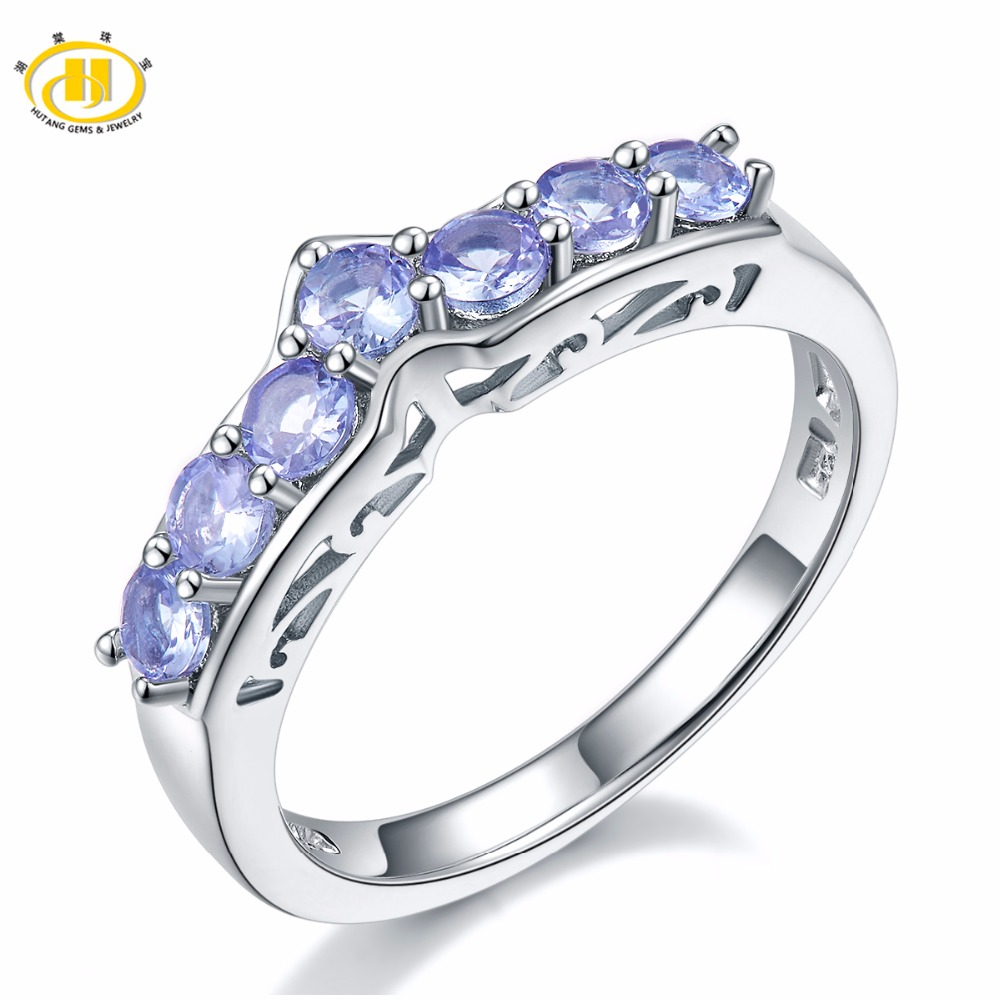 Hutang Natural Tanzanite Promise Ring Solid 925 Sterling Silver Gemstone Fine Jewelry For Womens Wedding Engagement Bridal Gift