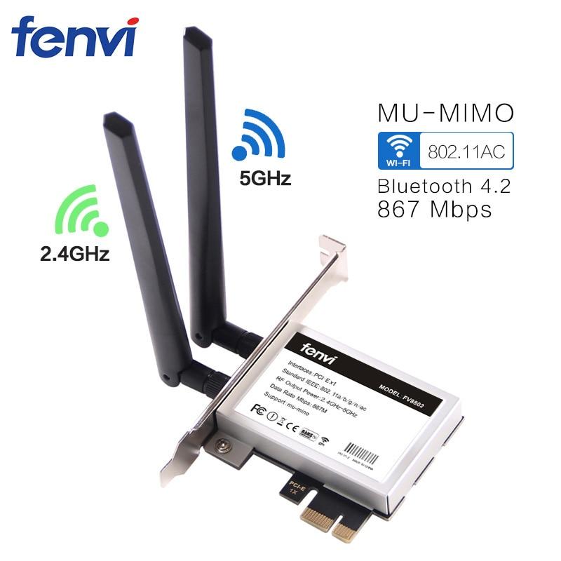 Fenvi Desktop Pci-E 1200 Mbps WiFi MU-MIMO Wireless-AC 8265 802.11AC PCI Express Adattatore di Antenna per Intel 8265ac + Bluetooth 4.2