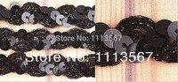 Großhandel 30 hof Schwarz HANDWERK Nylon Pailletten Perlen Spitze Band Paillettenbesatz Nähen Trim für Hochzeitskleid T11