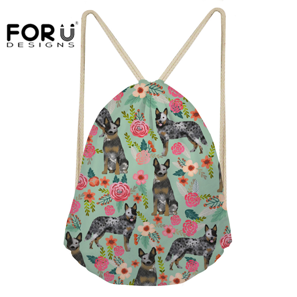 FORUDESIGNS Australian Cattle Dog Florals Cream Printing Women Drawstring Bags Small Backpack For Girls Sack Bag Storage Daypack