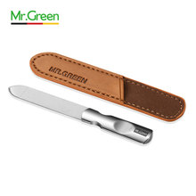Mr. Green Stainless Steel Nail File with Anti-skid Handle and Leather Case,Double Sided Files Nails Easily for Men Woman