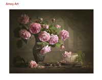 DIY Framless Pink Flowers Pictures Painting By Numbers Digital DIY Modern Oil Painting On Canvas By