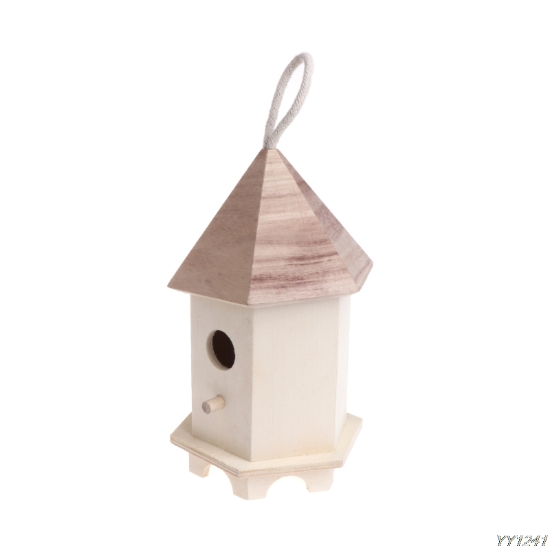 Bird Feeder Outdoor Feeding Wooden Garden Decoration Hexagon Nest House Supplies W110 dropshipping-W110