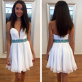 2016 White Homecoming Dresses Sweetheart Off the Shoulder Above knee Short Graduation Prom Party Gowns Plus Size Custom Made