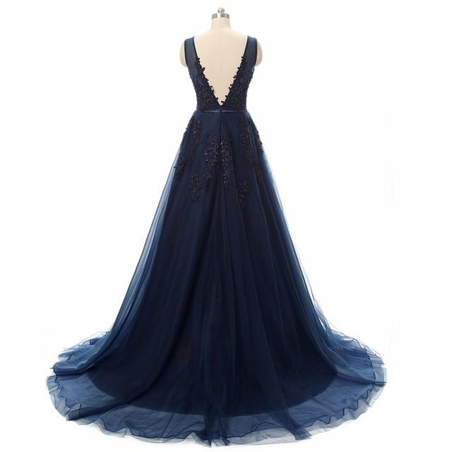Vestido de festa Evening Dress Robe De Soiree V Neck with Lace Appliques Long Tulle Party Evening Dresses 2017 Pink Navy Blue