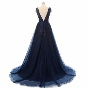 Image 5 - فستان سهرة Vestidos de festa رداء De Soiree رقبة V مع دانتيل زينة طويلة تول فساتين سهرة 2020 وردي كحلي