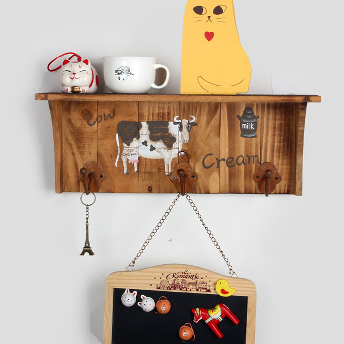 Sweet Home Wooden Wall Shelf Storage Rack Cow Home Decoration Creative Gift bedroom wooden racks hooks