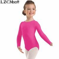 LZCMsoft Girls Spandex Lycra Scoop Neck Long Sleeve Leotard Child Black Gymnastics Leotards Ballet Dance Wear