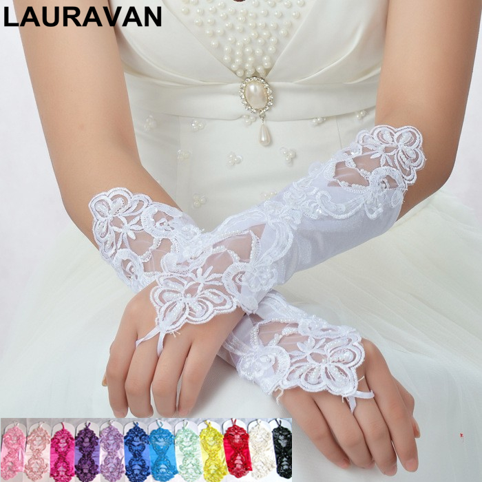 2019 Women 13 Color Vintage Amazing Bride Wedding Prom Party Sexy Dressy Beaded Lace Gloves Fingerless Style Matching Costume